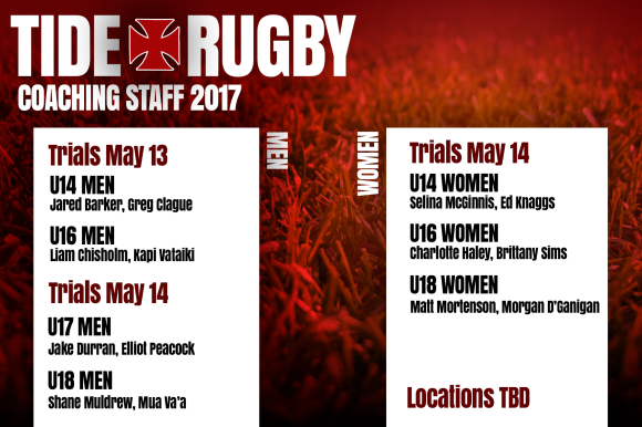 2017 trials for U14 and U16 men are Saturday May 13. Trials for all women's teams and the U17/U18 men will be on Sunday May 14.